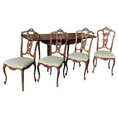 Beautiful French Louis XV Dining Set includes Table & 4 Chairs, 1920's, Oak