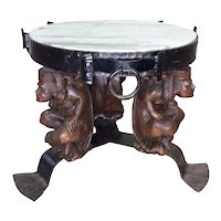 Antique French Gothic Jester Occasional Table with Marble Top Whimsical