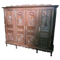 Heavily Carved French Breton Armoire Large 4 Door Model, Great Value, Oak, 19th Century