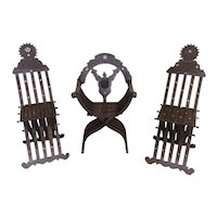 Unique set of Three Decorative Chairs, Walnut, Mother of Pearl Inlay