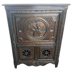 Antique French Breton Cabinet, Single Door, Oak, 1920's