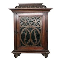 Great Smaller Antique French Gothic Wall Cabinet, Walnut, Turn of Century