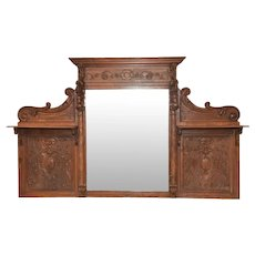 Antique French Renaissance Mirror, Grotesque Carvings, Medieval, 19th Century