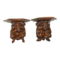 19th Century Pair of Jesters Wall Consoles, Walnut, Whimsical