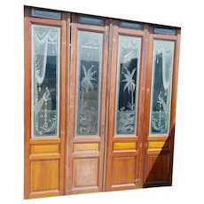 Fantastic set of Four (4) Antique French Etched Glass Doors, Peacocks & Palm Trees