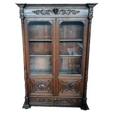 Elegant French Hunt Antique Bookcase, Oak, Turn of Century, Adjustable Shelves