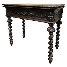 Charming Antique French Hunt Game Table, Barley Twist Legs