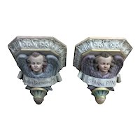 Pair of  Plaster  Angel Wall Consoles, Religious, Gothic, Turn of Century
