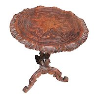 Antique Carved Rustic Occasional Table, Inlay's, French, 1920's