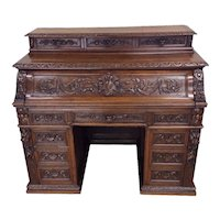 Ornate French Hunt Desk & Barrel Chair, 19th Century, Oak