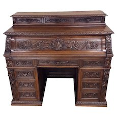 Ornate French Hunt Desk & Barrel Chair, 19th Century, Oak