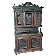 Tall Antique French Breton Cabinet, Step Back Style, Oak, 1910, Removable Crown