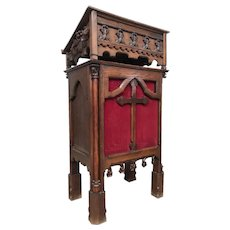 Antique French Gothic Lectern Podium, Religious, 19th Century, Oak