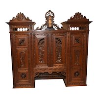 French Breton Cabinet Top, Nice Architectural Piece, Wall Cabinet, 19th Century, Oak