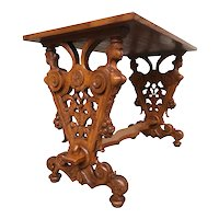 Unique French Renaissance Coffee Table, Caryatid Carvings, , 1920's, Oak