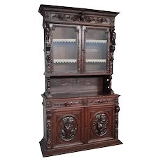 Terrific Antique French Hunt Cabinet, Oak, 19th Century, Great Pricing