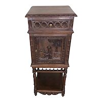Antique French Breton Night Stand, Oak, 1900s, Tall