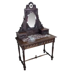 Showy Antique French Breton Dressing Table with Mirror, 1900's, Oak, Vanity