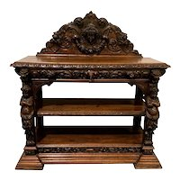 Heavily Carved French Renaissance Server / Sideboard / Buffet, Cherubs 19th Century, Walnut