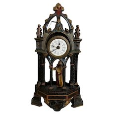 Wonderful Antique French Gothic Mantel Clock, Painted Iron, 19th Century