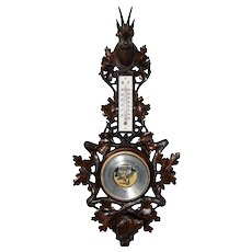 Decorative Antique French Black Forest Barometer, Dog & Chamois Carvings