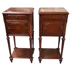 Tall Antique French Walnut Night Stands, Marble Top, 1920's