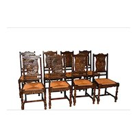 Vintage  French Breton Dining  Chairs, Set of Eight, Oak, 1940's