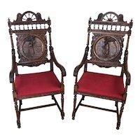 Antique French Breton Arm Chairs, Oak, 1900-1910