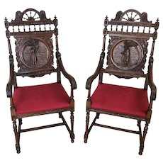 Antique French Breton Arm Chairs, Oak, 1900-1910