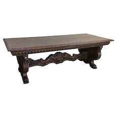 Heavily carved Antique French Renaissance Table, Solid, Oak