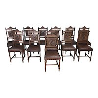 Hard to find Set of Twelve Antique French Breton Chairs, Leather Seats, 19th Century