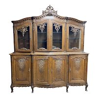 Exquisite Antique French China Cabinet, Oak, 1920's
