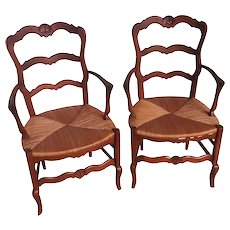 Matching Pair of  French Country Arm Chairs, Oak, 1920's #11010