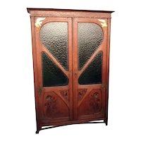 Showy Antique French Art Nouveau Bookcase, Decorative Glass, 1920's, Oak