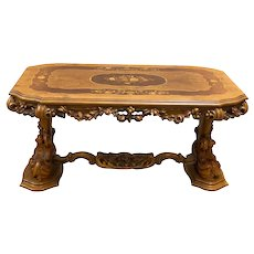 Italian Baroque Coffee Table, Floral Inlay Design, 1950-60's