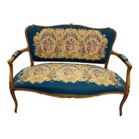 Attractive French Needlepoint  Bench - Loveseat, 1920-30's. Walnut Frame