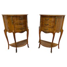 Lovely Pair of French Night Stands, Decorative Metal Accents,  Walnut, 1940's