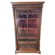 Antique French Gothic Display Cabinet, 19th Century, Oak