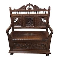 Nice smaller sized Antique French Breton Bench, Oak, 19th Century