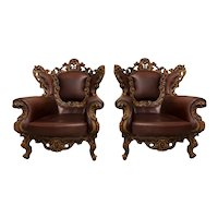 Pair of Italian Baroque Arm Chairs, Walnut & Leather, 1970's, Heavily Carved