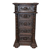 Tall Antique French Hunt Night Stand, Barley Twist, 19th Century, Oak