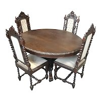 Value Priced Antique French Hunt Table & Four Chairs, 19th Century, Oak, Barley Twist