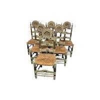 Wonderful Set of  Six (6) Painted Dutch Chairs, Rush Seats, 1940's