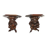 Whimsical Antique French Jester wall consoles, 19th Century, Walnut