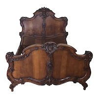 Elegant French Walnut Bed, 19th Century, Great Quality