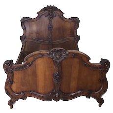 Elegant French Walnut Bed, 19th Century, Great Quality