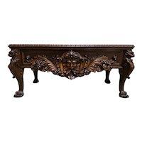 Grandiose Antique French Renaissance Desk, Lion Carvings, Walnut, 19th Century