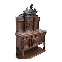 Showy Antique French Walnut Server, 19th Century, Dolphin Carvings, Nice Value