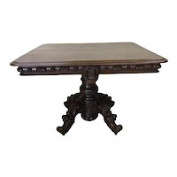 19th Century French Renaissance Table, Oak, Pedestal Base