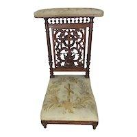 Antique French Gothic Church Kneeler, Prayer Chair, 19th Century, Religious #11126